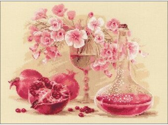Pink Pomegranate Flowers - Cross Stitch Kit