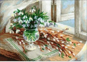 Willow And Snowdrops - Cross Stitch Kit
