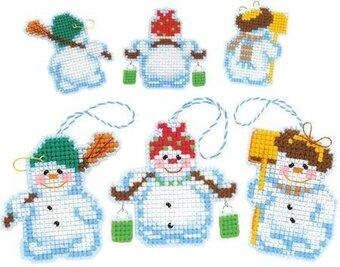 Plastic Canvas Christmas.Snowmen Christmas Ornaments Plastic Canvas Cross Stitch Kit