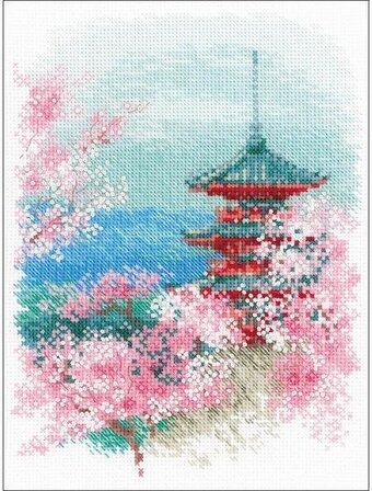 Sakura Japanese Pagoda - Cross Stitch Kit
