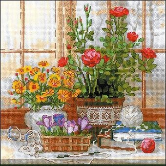 Crocuses On The Windowsill - Cross Stitch Kit