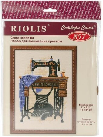 Cat With Sewing Machine - Cross Stitch Kit