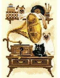 Cat With Gramophone - Cross Stitch Kit