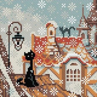 City and Cats Winter - Diamond Mosaic Embroidery Kit