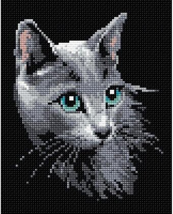 Russian Blue Cat - Diamond Mosaic Embroidery Kit