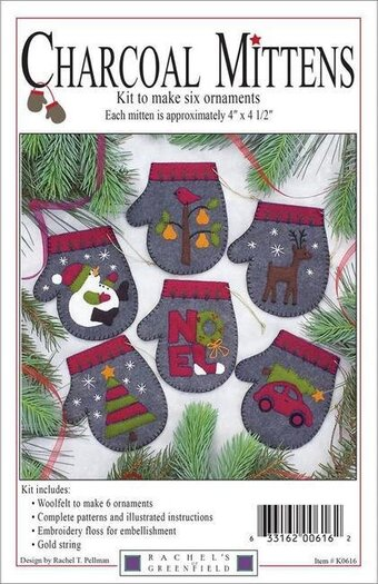 Charcoal Mittens Christmas Ornament - Felt Applique Kit