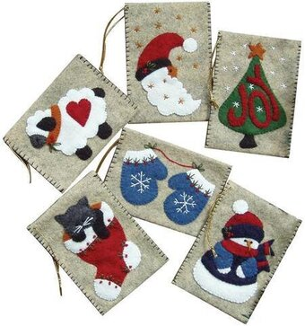 Gift Bag Christmas Ornaments - Felt Applique Kit