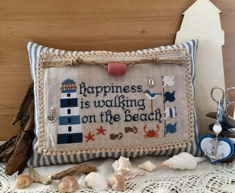 Walking on the Beach (with charms) - Cross Stitch Pattern