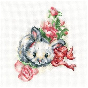 Fluffy Gift Rabbit - Cross Stitch Kit