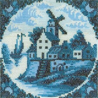 Antique Dutch Tiles Windmill I - Cross Stitch Kit