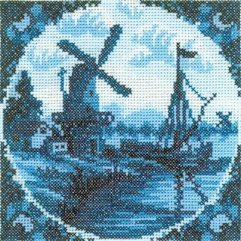Antique Dutch Tiles Windmill II - Cross Stitch Kit