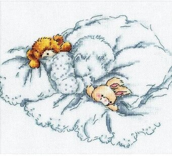 Baby W/Rabbit and Teddy Bear II - Cross Stitch Kit
