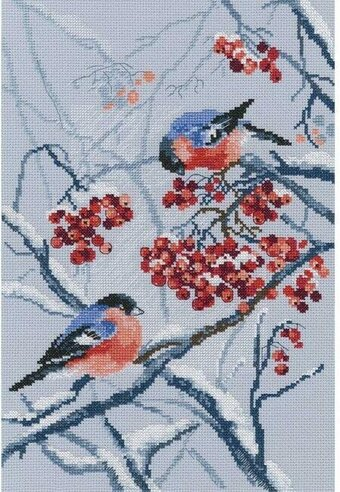 Bullfinches In Rowanberries - Cross Stitch Kit