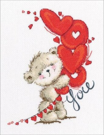 I Love You Teddy Bear - Cross Stitch Kit