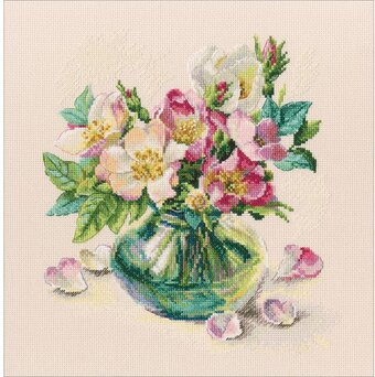 Vervaco Green Tea Cup /& Flowers Counted Cross Stitch Kit 18 Count Aida