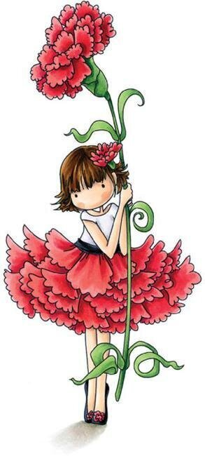 Garden Girl Carnation - Cling Rubber Stamp