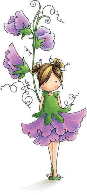 Garden Girl Sweetpea - Cling Rubber Stamp