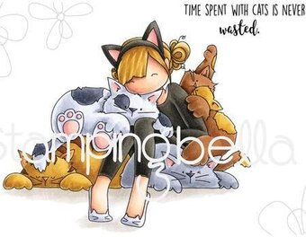 Tiny Townie Courtney Loves Kitties - Cling Rubber Stamp