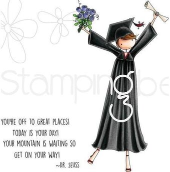 Uptown Girl Grace The Graduate - Cling Rubber Stamp