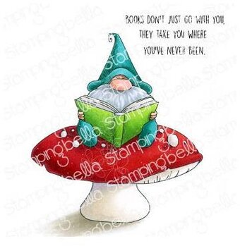 Reading Gnome - Cling Stamp