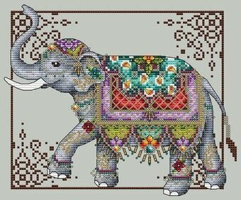 Jeweled Elephant - Cross Stitch Pattern