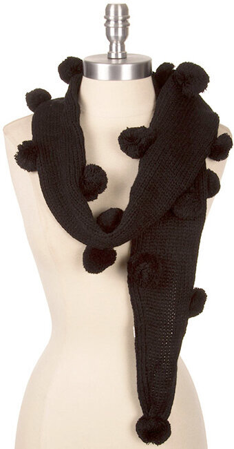 Cute Pom-Pom Detail Knit Scarf - Black
