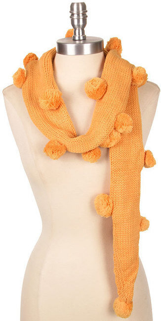 Cute Pom-Pom Detail Knit Scarf - Orange