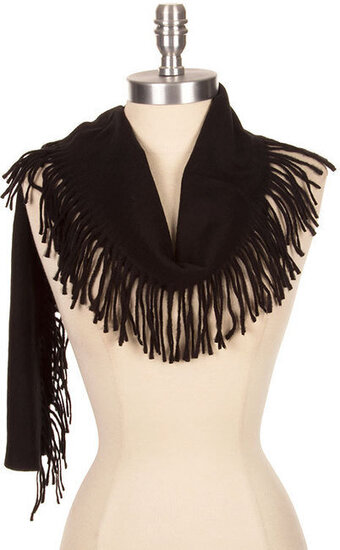 Super Soft Fringed Edge Scarf - Black