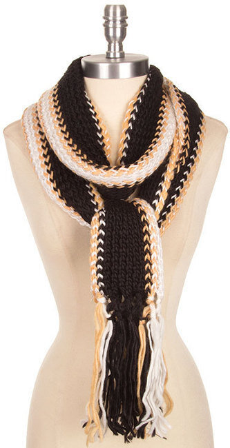 Stripe Knit Finge Ends Long Scarf - Multi