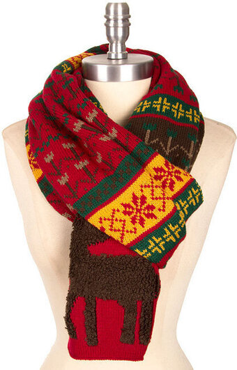 Reindeer Pattern Knit Long Christmas Scarf - Red