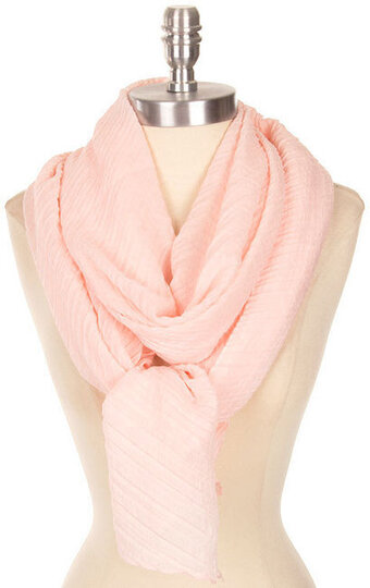 Beautiful Solid Color Crinkled Scarf - Peach