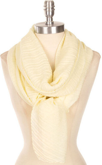 Beautiful Solid Color Crinkled Scarf - Yellow