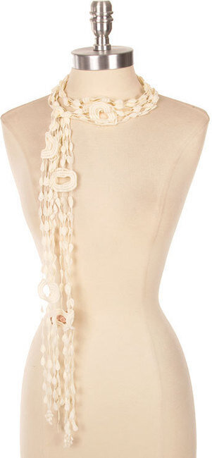 Beautiful Color Crochet Tie Scarf - Beige