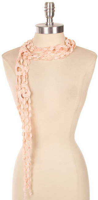 Beautiful Color Crochet Tie Scarf - Pink