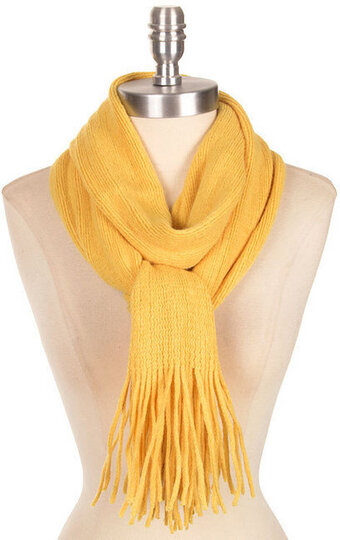 Wide Soft Classic Style Scarf - Mustard Yellow