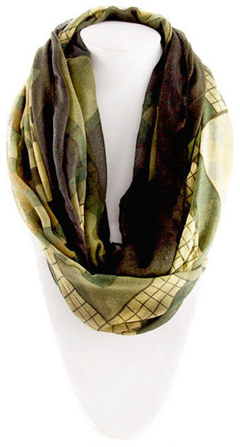 Adorable Square Print Scarf - Dark Green