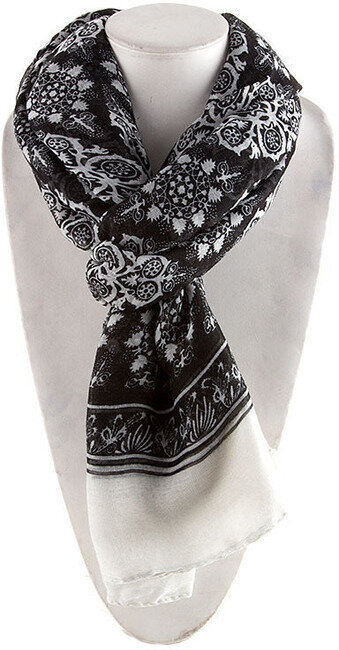 Ethnic Floral Print Scarf - Black
