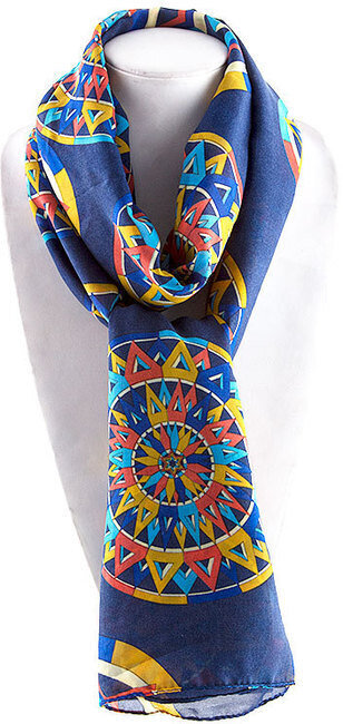 Geometry Colorful 3D Tire Print Scarf - Navy Blue