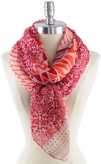 Cute and Soft Stripe and Floral Print Scarf - Coral