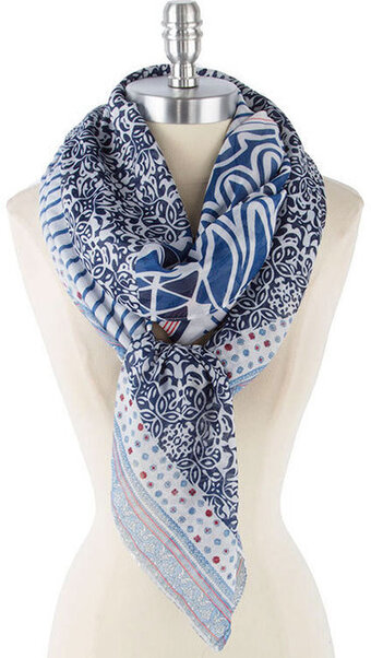 Cute and Soft Stripe and Floral Print Scarf - Navy