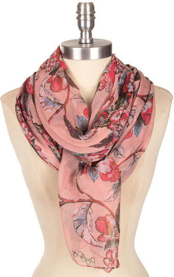 Pretty Floral Print Scarf - Pink