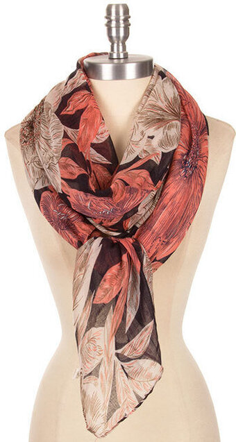 Beautiful Pendrawing Floral Print Scarf - Black