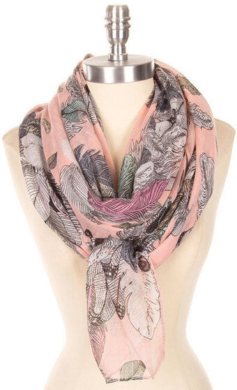 Soft Feather Print Lightweight Scarf - Pink