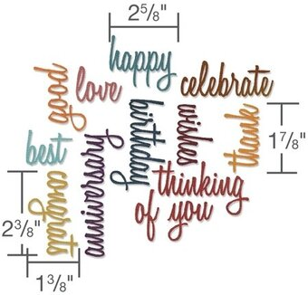 Tim Holtz Thinlits Dies - Celebration Words Script