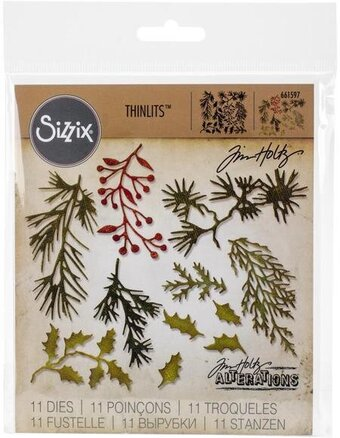 Tim Holtz Thinlits Dies - Mini Holiday Greens