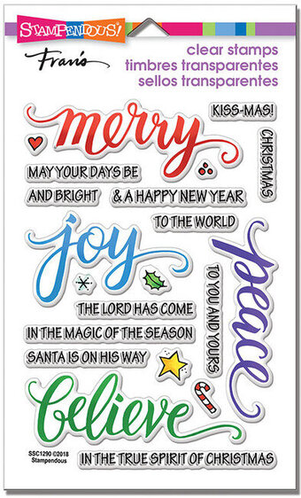 Merry Words Perfectly Clear Christmas Stamps