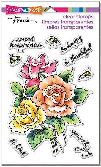 Roses Be Happy - Perfectly Clear Stamp