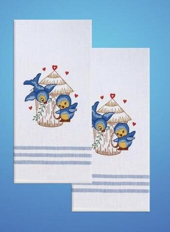 TOBIN Hand Kitchen Towels for Stamped Embroidery MERMAID Set of 2