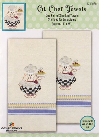 Cat Chef Kitchen Towels - Stamped Embroidery Kit