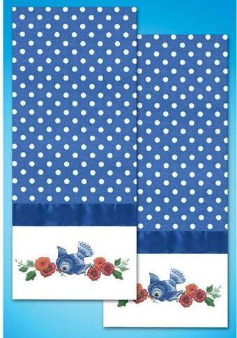 Bluebird Kitchen Towels - Stamped Embroidery Kit